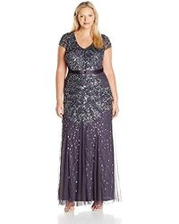 8b933f47ba7 Adrianna Papell Cap Sleeve Fully Beaded Gown (lead) Women s Dress in ...