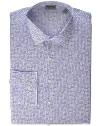 Kenneth Cole Reaction Dress Shirt Slim Fit All-day Flex Technicole Stretch Print - Blue