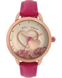 Betsey Johnson Floating Stones Watch - Pink