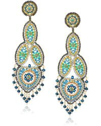 Miguel Ases Large Opaque Contrasted Heart Swarovski Teal Chandelier Drop Earrings - Blue