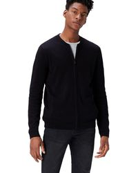 FIND Cotton Cardigan Sweater In Bomber Jacket Style - Black