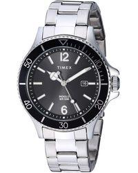 Timex - Tw2r64600 Harborside Silver-tone/black Stainless Steel Bracelet Watch - Lyst