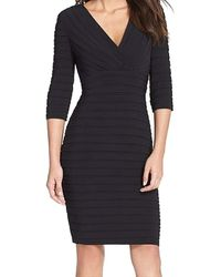 Adrianna Papell Pleated Jersey Sheath Dress - Black