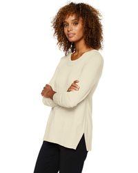 Lark & Ro Premium Viscose Blend Long Sleeve V-neck - White