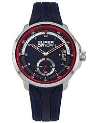 Superdry 'kyoto Day-date' Quartz Silver-tone And Silicone Casual Watch, Color:blue (model: Syg217u)