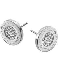 Michael Kors Silver Tone Logo Pave Stud Earrings - Metallic