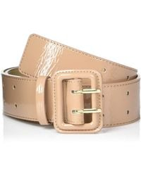 The Drop @lisadnyc Patent Faux Leather Wide Belt - Natural