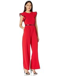 Calvin Klein Belted Jumpsuit With Flutter Sleeves - Red