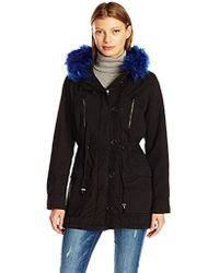 Steve Madden Cotton Anorak With Faux Fur Trimmed Hood - Black