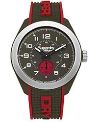 Superdry 'navigator Military' Quartz Plastic And Silicone Casual Watch, Color:green (model: Syg214n) - Multicolor