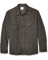 Billy Reid Long Sleeve Western Snap Front Shirt - Black