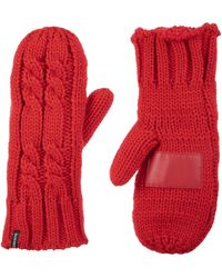 Isotoner Womens Chunky Cable Knit Sherpasoft Cold Weather Mittens - Red