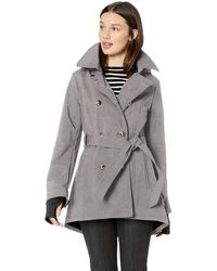 Jessica Simpson Double Breasted Fashion Coat - Gray