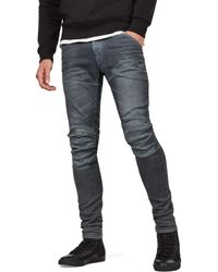 G-Star RAW 5620 Knee Zip Superslim Jeans In Loomer Gray Superstretch