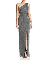 Adrianna Papell One Shoulder Long Side Slit Metallic Chainmail Column Dress - Black