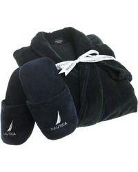 Nautica Sleepwear Terry Velour Stripe Shawl Collar Robe With Slippers - Black