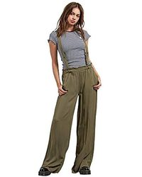 Volcom Dreamt It Up High Waisted Wide Leg Suspender Pants - Green