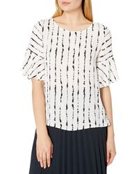 Vince Camuto Short Sleeve Flutter Cuff Stripe Impressions Blouse - White