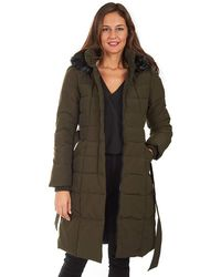 """Kensie 44"""" Luxe Fur Hooded Quilted Non-down Long Puffer - Green"""