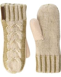 Timberland Plaited Cable Mittens - Pink