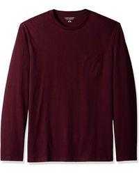 Amazon Essentials Regular-fit Long-sleeve T-shirt With Pocket - Purple