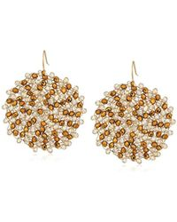 """Kenneth Cole - """"shiny Gold Items"""" Gold And Neutral Tonal Beaded Woven Drop Earrings - Lyst"""