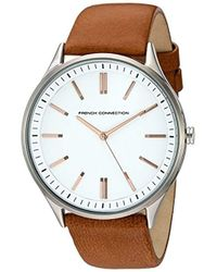 French Connection Quartz Watch With Gray Dial Analogue Display And Brown Leather Strap Fc1259t