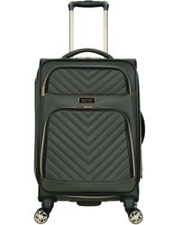"""Kenneth Cole Reaction Chelsea 20"""" Chevron Quilted Softside Expandable 8-wheel Spinner Carry-on Suitcase - Green"""