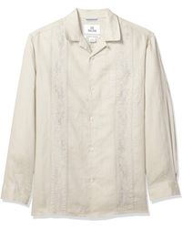 28 Palms Relaxed-fit Long-sleeve 100% Linen Embroidered Guayabera Shirt - Natural