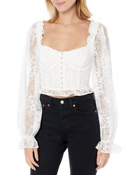 For Love & Lemons Cheyenne Lace Bustier Top - White