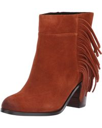 Kenneth Cole Alana Suede Fringe Ankle Booties - Brown