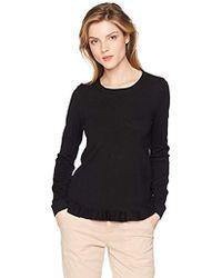 Adrianna Papell Crew Neck Ruffle Hem Long Sleeve Sweater - Black