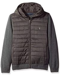 U.S. POLO ASSN. - Quilted Full Zip Hoodie Sweater - Lyst