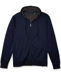 Perry Ellis Big & Tall Long Sleeve Full Zip Hoodie - Blue
