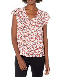 Nine West Printed Flutter Sleeve V Neck Top - Red