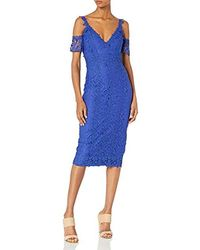 Nicole Miller Lace Combos Cold Shoulder Dress - Blue
