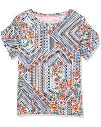 Rafaella Giocosco Floral Print Ruffle Sleeve Crew Neck Slub Tee - White