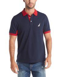 Nautica Classic Fit Short Sleeve Performance Pique Polo Shirt - Blue
