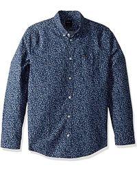 RVCA Thatll Do Floral Long Sleeve Woven Shirt - Blue
