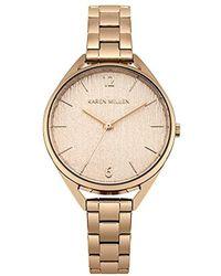 Karen Millen Textured Dial Bracelet Watch - Rose Gold Color - Metallic