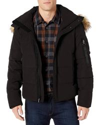 Vince Camuto Puffer Jacket With Faux-fur Trimmed Hood - Black