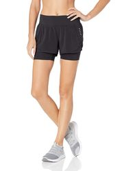 Core 10 Amazon Brand - Women's (xs-3x) Knit Waistband '2-in-1' Run Short With Built-in Compression Short, Black, X-large