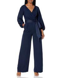 Eliza J Faux Wrap Long Sleeve Jumpsuit - Blue