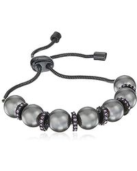 Kenneth Cole - Pearl Mix Pearl Adjustable Slider Friendship Bracelet, Grey - Lyst