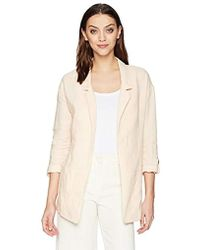 Three Dots Woven Linen Long Loose Blazer - Natural