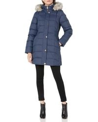 Anne Klein Hooded Boxed Quilt Coat With Elastic Waist Detail - Blue