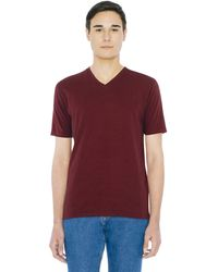 American Apparel Fine Jersey Classic Short Sleeve V-neck T-shirt - Red