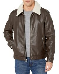 Tommy Hilfiger Classic Faux Leather Jacket With Removable Sherpa Collar - Brown