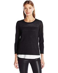 Calvin Klein - Perforated Sweater 2-fer - Lyst
