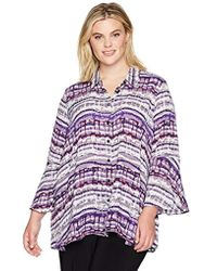 Jones New York - Plus Size Flounce Longsleeve Top With Front Button Placket - Lyst